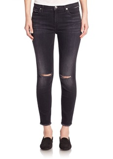 7 For All Mankind High-Waist Distressed Ankle Skinny Jeans