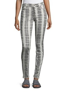 7 For All Mankind High-Waist Houndstooth-Print Skinny Jeans