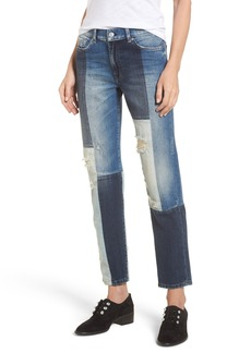 7 For All Mankind® High Waist Patched Slim Jeans (Indigo Patches)
