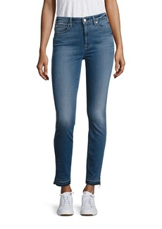 7 For All Mankind High-Waist Released Hem Skinny Ankle Jeans