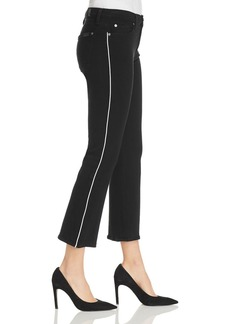 7 For All Mankind High-Waist Slim-Kick Jeans in Jet Black with White Piping