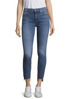 7 For All Mankind High-Waist Stepped Hem Skinny Jeans