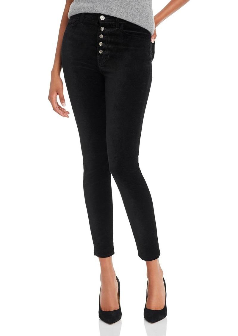7 For All Mankind High-Waisted Ankle Skinny Jeans in Black Velvet