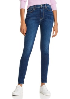 7 For All Mankind High-Waisted Skinny Jeans in Midnight Dark
