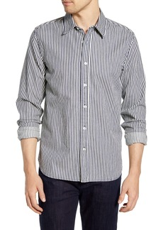7 For All Mankind® Indigo Slim Fit Calico Stripe Button-Up Shirt