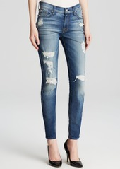 7 For All Mankind Jeans - The Ankle Skinny Destruction in Distressed Authentic Light