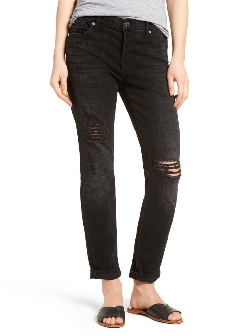 7 For All Mankind® Josefina Boyfriend Jeans (Black Ocean Broken Twill)