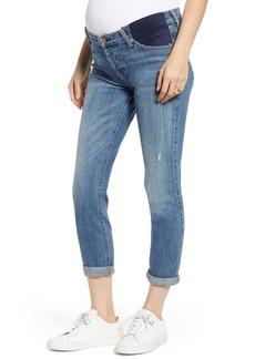 7 For All Mankind® Josefina Crop Boyfriend Maternity Jeans (Bright Light Broken Twill)