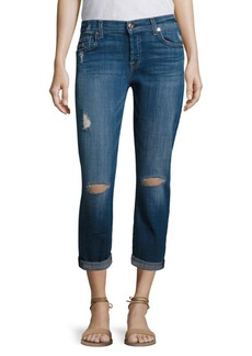 7 For All Mankind Josefina Distressed Cuffed Boyfriend Jeans