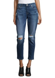 7 For All Mankind Josefina Distressed Rolled Boyfriend Jeans