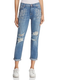 7 For All Mankind Josefina Embellished Boyfriend Jeans in Vintage Wythe with Studs - 100% Exclusive