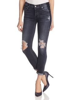 7 For All Mankind Josefina Skinny Boyfriend Jeans in Black Shadow