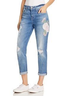 7 For All Mankind Josefina Skinny Boyfriend Jeans in Denim Embroidered Botanical