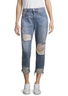 Josefina Studded High-Rise Distressed Jeans