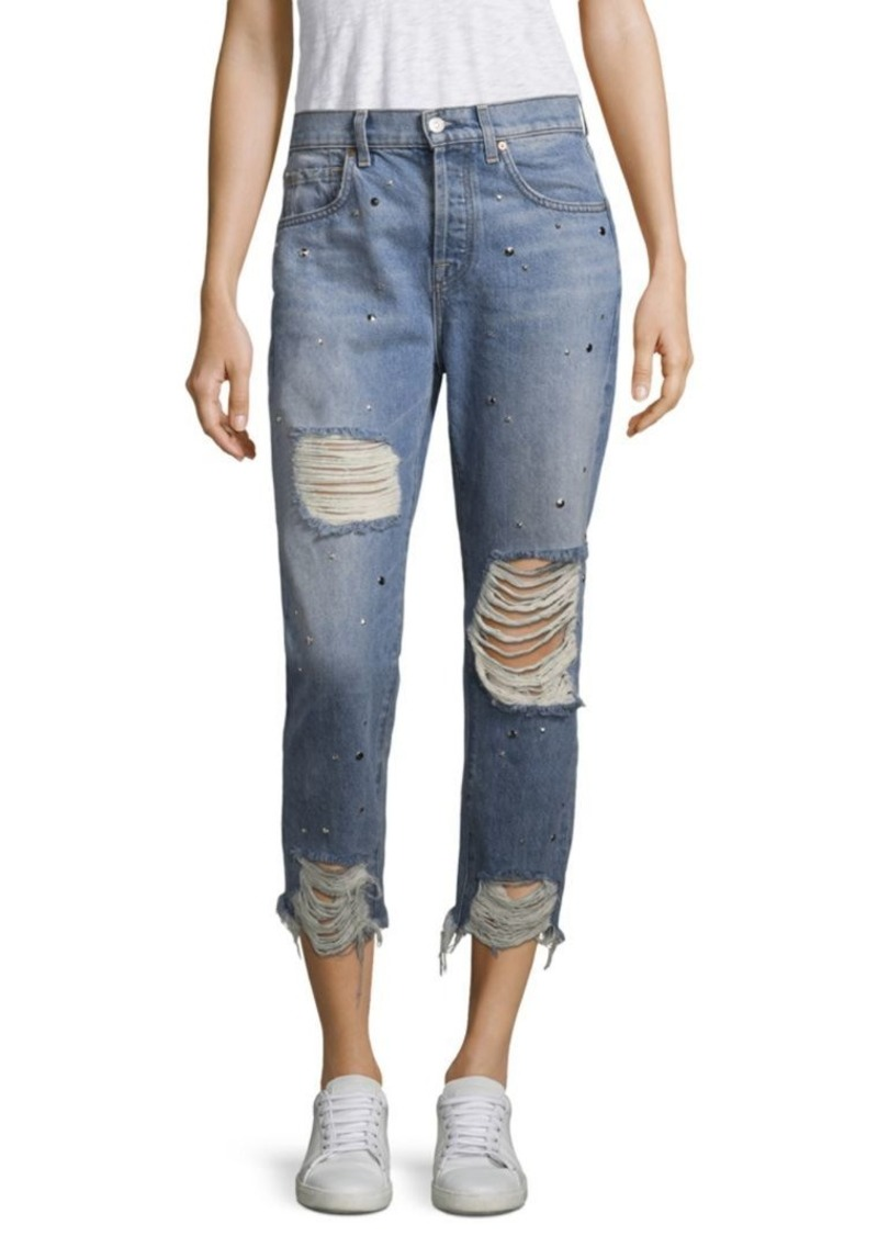 7 For All Mankind Josefina Studded High-Rise Distressed Jeans