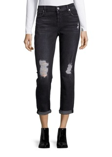 7 For All Mankind Josefina with Destroy in Light Distressed Cotton-Blend Jeans