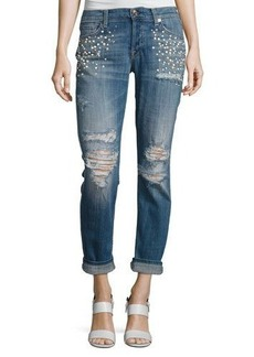 7 For All Mankind Josephina Distressed Boyfriend Jeans with Pearly Details
