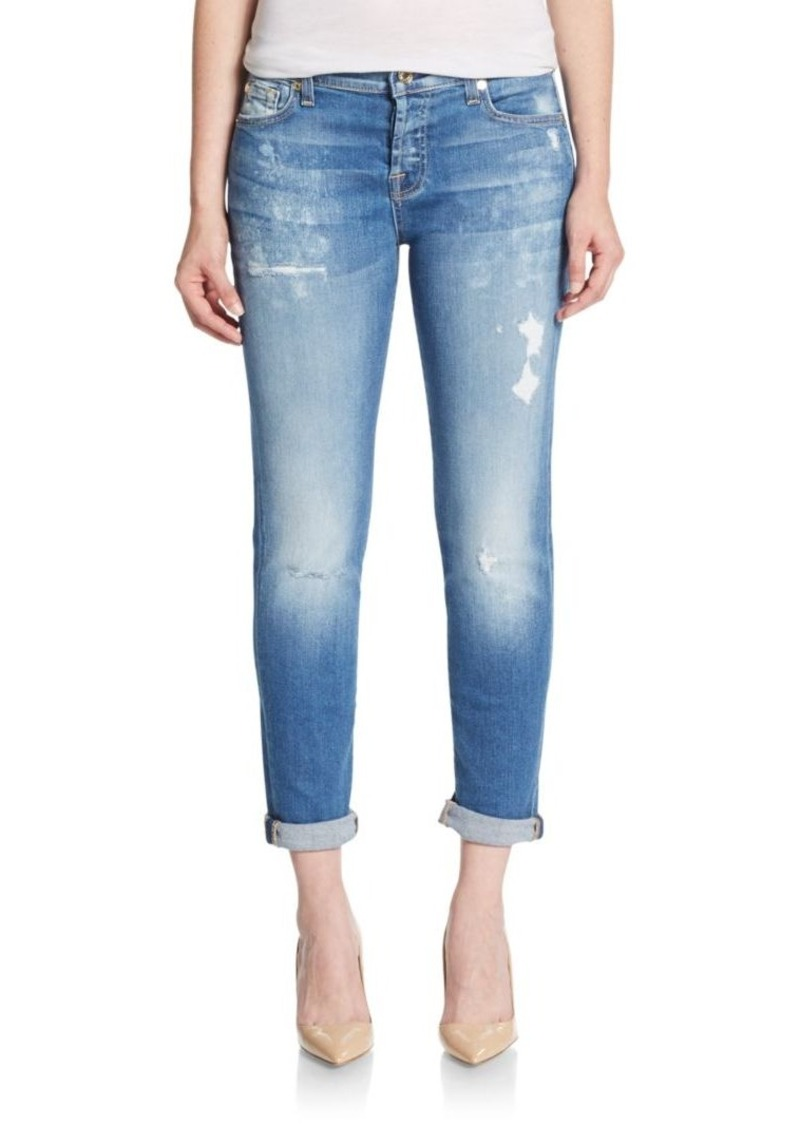 7 For All Mankind Josephina Light Distressed Boyfriend Jeans