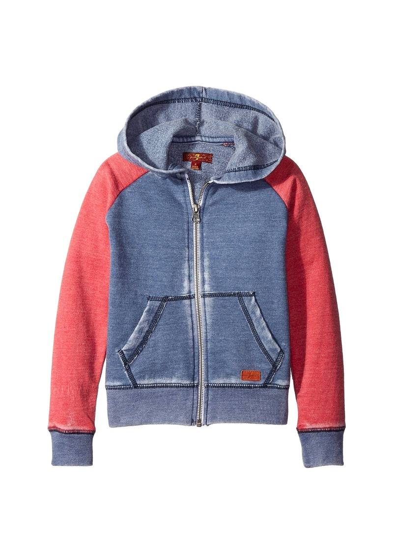 7 For All Mankind Kids Hooded Full Zip Fleece Lined Color Block Burnout Sweatshirt (Big Kids)