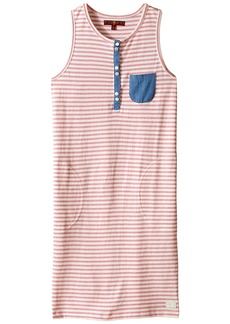7 For All Mankind Kids Slub Jersey Henley Tank Dress with Chambray (Big Kids)