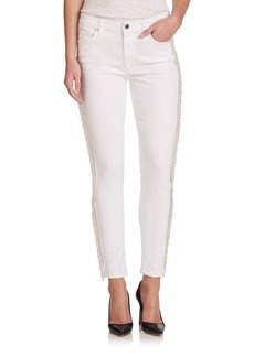 7 For All Mankind Kimmie Fringe Tuxedo-Stripe Cropped Jeans