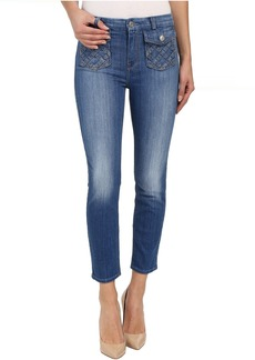 7 For All Mankind Lattice Pocket Ankle Skinny in Authentic Washed Indigo