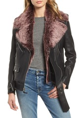 7 For All Mankind® Leather Biker Jacket with Removable Genuine Shearling Trim