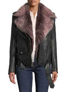 7 For All Mankind Leather Moto Jacket with Removable Shearling Fur
