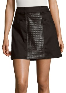 7 For All Mankind Leather Paneled A-Line Skirt