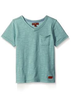 7 For All Mankind Little Boys Short Sleeve Slub Jersey V-Neck Pocket T-Shirt