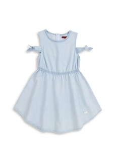 7 For All Mankind Little Girl's & Girl's Tie-Sleeve Cold-Shoulder Chambray Dress