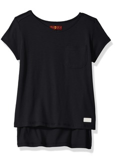 7 For All Mankind Little Girls' Short Sleeve T-Shirt (More Styles Available) G2260-Black