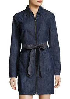 7 For All Mankind Long-Sleeve Zip-Front Denim Dress