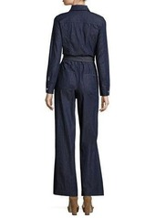 7 For All Mankind Long-Sleeve Zip-Front Denim Jumpsuit