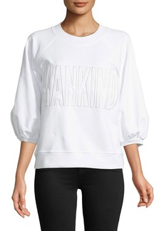 7 For All Mankind Mankind Embroidered 3/4 Puff Sleeve Sweatshirt