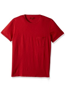 7 For All Mankind Men's Short Sleeve Raw Pocket Crew Neck Tee Shirt red