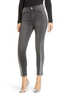 7 For All Mankind® Metallic Side Stripe High Waist Ankle Skinny Jeans