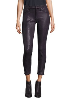 7 For All Mankind Metallic Snakeskin Skinny Jeans