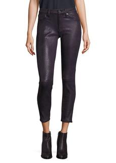 Metallic Snakeskin Skinny Jeans