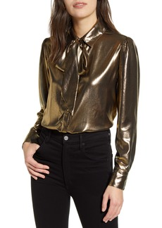 7 For All Mankind® Metallic Tie Neck Blouse