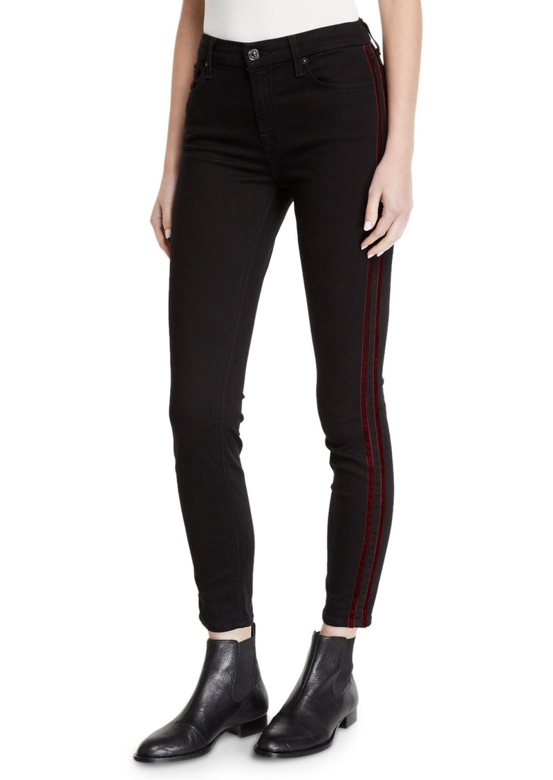 7 For All Mankind Mid-Rise Ankle Skinny with Velvet Side Stripes