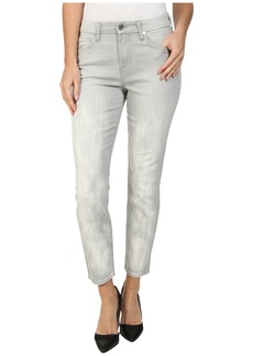 7 For All Mankind Mid Rise Crop Skinny w/ Bleach in Distressed Spring Grey