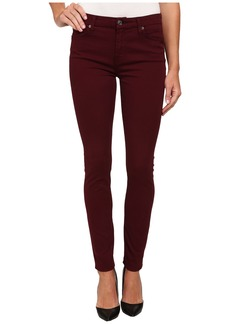 7 For All Mankind Mid Rise Skinny with Contour Waistband in Dark Ruby Red