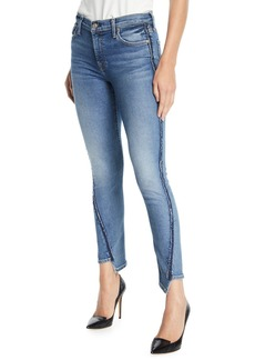 7 For All Mankind Mid-Rise Twisted Ankle Skinny Jeans with Exposed Seams