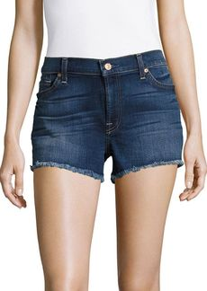 7 For All Mankind Mid-Waist Fringed Denim Shorts