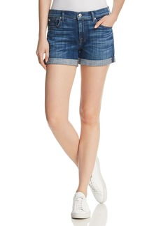 7 For All Mankind Midroll Denim Shorts in Broken Twill Desert Trail