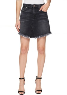 Mini Skirt w/ Scallop Raw Hem in Vintage Bedford Black 3