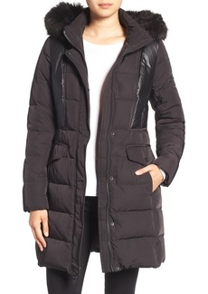 7 For All Mankind Mixed Media Coat with Removable Faux Fur Trim Hood