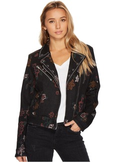 7 For All Mankind Moto Jacket w/ Studs in Print on Noir