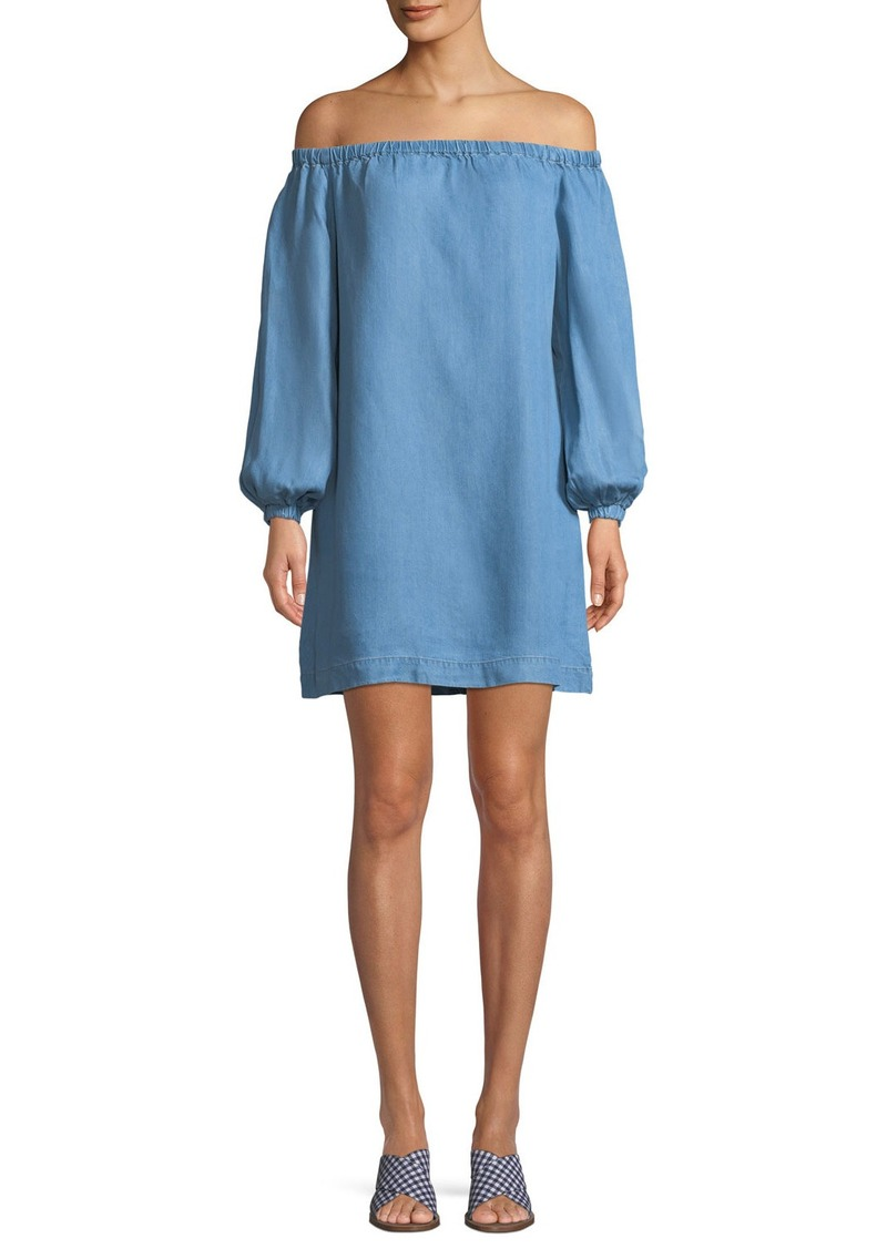 7 For All Mankind Off-the-Shoulder Blouson-Sleeve Chambray Short Dress